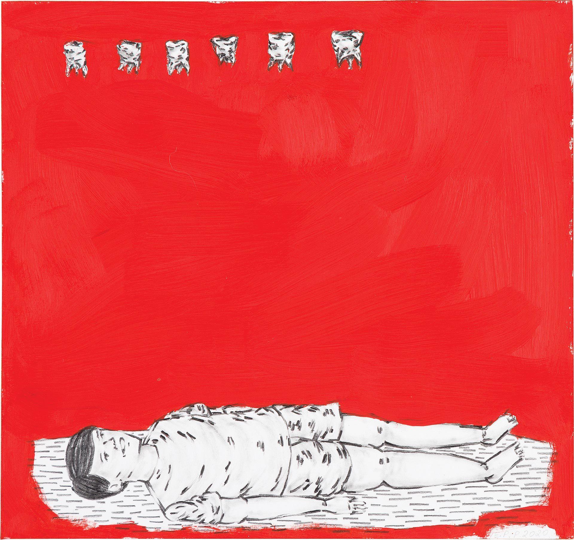 Quadro de área vermelha, na parte inferior da imagem em um fundo branco uma figura humana  deitada com o corpo estático e com um sorriso no rosto, a imagem  é desenhada com grafite, assim como na parte superior do quadro vemos uma fila com seis dentes brancos desenhados em oposição à figura humana em baixo.